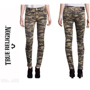 NWT True Religion Camo Mid Rise SS Halle Jeans